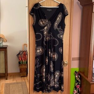 Long Black/Paisley Dress Size 16